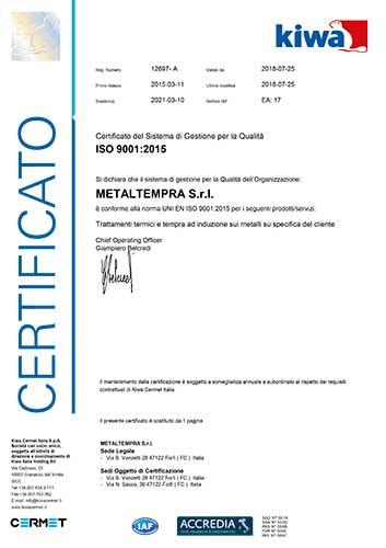 Certificazione ISO 9001 2015 Metaltempra